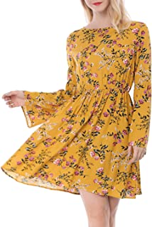 Women's Boat Neck Long Bell Sleeves Swing Boho Casual Floral Sun Dress