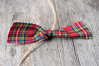 Royal Stewart primitive fabric rag tartan plaid 6 foot Twine Garland for the Tree or Bunting