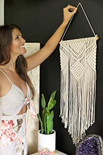 "Macrame Wall Hanging | Geometric Boho Bohemian Chic Wall Decor | Woven Wall Hanging | Vintage Modern Apartment Dorm Room Decoration | Handmade Wall Art Tapestry | Home Wall Hanging, 14"" W x 30"" L"