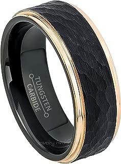 2-Tone Hammered Tungsten Wedding Ring 8mm Black IP Tungsten Carbide Ring Anniversary Band