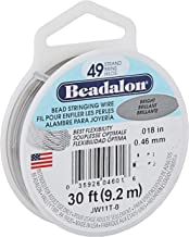 Beadalon JW11T-0 Stringing Wire 49-Strand .018-Inch (.46-Millimeter) Diameter 30-Feet/Pkg, Bright
