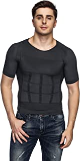 Odoland Men's Body Shaper Slimming Shirt Tummy Vest Thermal Compression Base Layer Slim Muscle Tank Top Shapewear