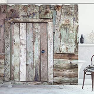 Ambesonne Rustic Shower Curtain, Old Rustic Barn Door Cottage Country Cabin Theme Rural Mystic Entrance of Home, Cloth Fabric Bathroom Decor Set with Hooks, 75