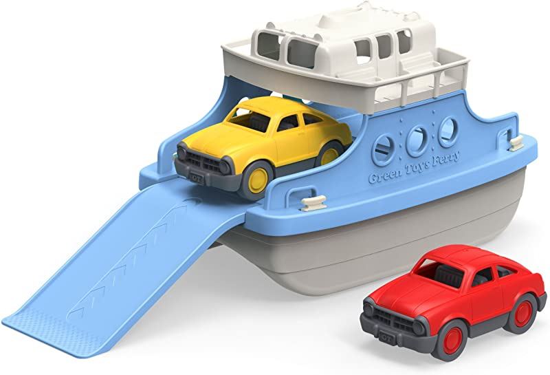 Green Toys Ferry Boat With Mini Cars Bathtub Toy Blue White