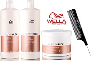 Wella FUSION PLEX Intense Repair Shampoo, Conditioner & Mask TRIO SET (with Sleek Steel Pin Tail Comb) (33.8 oz + 16.9 oz - LARGE TRIO Kit)