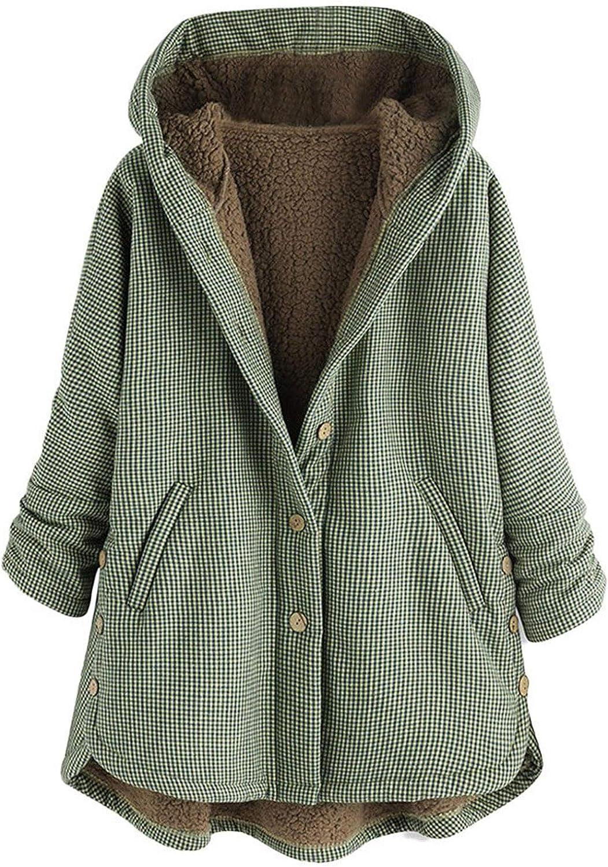 Winter Jacket Coat for Women Warm Fuzzy Fleece Plaid Printed Outwear Comfy Button Side Split Hoodies with Pockets