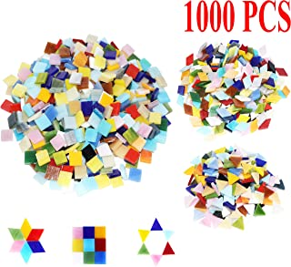 Csdtylh 1000 Pieces Mixed Color Mosaic Tiles Mosaic Glass Pieces Home Decoration DIY Crafts, Square (Mixed Shape)