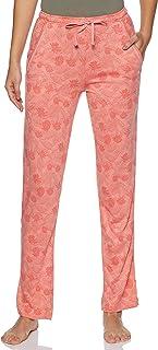 Jockey Women's Straight Fit Pants (RX09_Peach Blossom Assorted Prints_M)