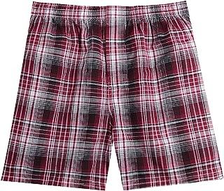Pau1Hami1ton Men's Woven Boxer Shorts Cotton Trunks Button Plaid Briefs Checkered Underwear B-01