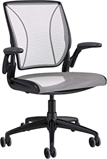 Humanscale Diffrient World Office Task Desk Chair - Adjustable Duron Arms - Black Frame White Pinstripe Back and Seat Mesh W11BN01N01 - Carpet Casters