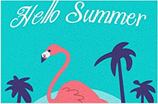 Coconut Tree Beach Flamingo Door Mat PVC Outdoor Indoor Welcome Doormat Dirt Catching Non-Slip Washable Floor Rug for Fron...