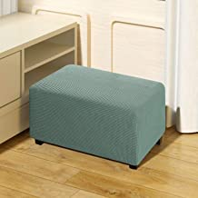 QUALITELL Ottoman Slipcover Stretch Footstool Cover Furniture Protector for Living Room - Sage, Small