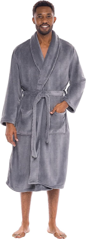 Alexander Del Rossa Men's Warm Fleece Robe, Plush Bathrobe