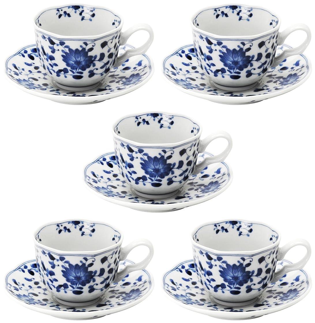 規模記念吹雪美濃焼 コーヒー碗皿 5客セット 菊唐草 797-59-36E(5)