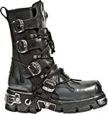 Newrock New Rock 591-S2 Silver Flame Metallic Black Leather Boot Biker Goth Boots