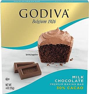 GODIVA Milk Chocolate Premium Baking Bar (4 oz Box. Pack of 12)
