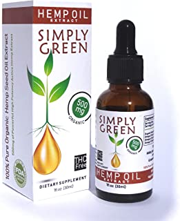 Simply Green Hemp Oil Extract for Stress and Pain Relief - Organic Liquid Hemp Seed Oil Drops - Natural Supplement rich in Omega 3-6-9 Fatty Acids - Anti-Inflammatory - 500mg - 1 fl oz (30ml)