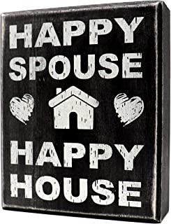 JennyGems - Happy House Happy Spouse- Wooden Wife Quote Saying Box Sign - Meaningful Gift for Husband, Significant Other, or Wife, Funny Decor, Wedding Gift, Shelf Knick Knacks
