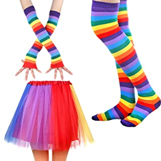 Women's Rainbow Long Gloves Socks and 3 Layered Tulle Tutu Skirt Party Accessory Set