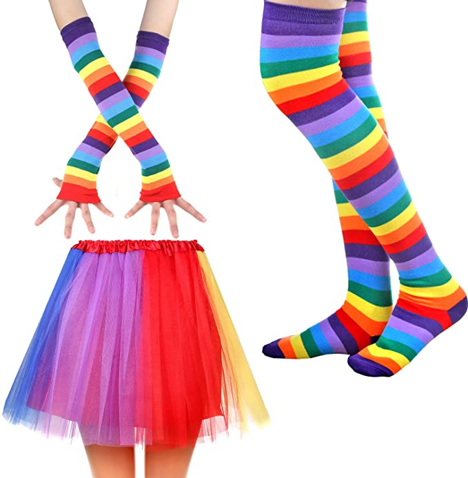 Rainbow Stripes 80s Accessory Set with Skirt, Socks and Long Gloves