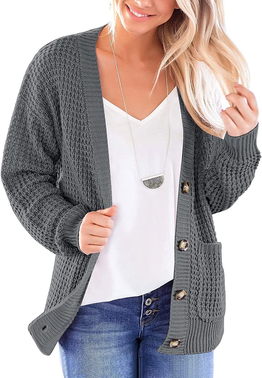 luvamia Women's Long Sleeve Knit Sweater Cardigans Loose Button Cardigan with Pockets