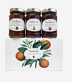 Sarabeths Legendary Spreadable Fruit - 3 Jar Gift Pack - Blood Orange Marmalade, Raspberry Key