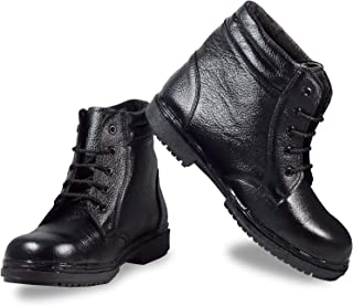 RIGAU GENUINE LEATHER BLACK STEEL TOE SAFETY SHOES (BOOTS) (10)