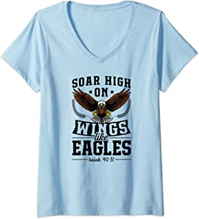 Womens Soar High On Wings Like Eagles Christian Easter Bible Gift V-Neck T-Shirt