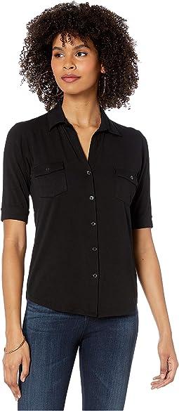 Viscose/Elastane Button Front Shirt