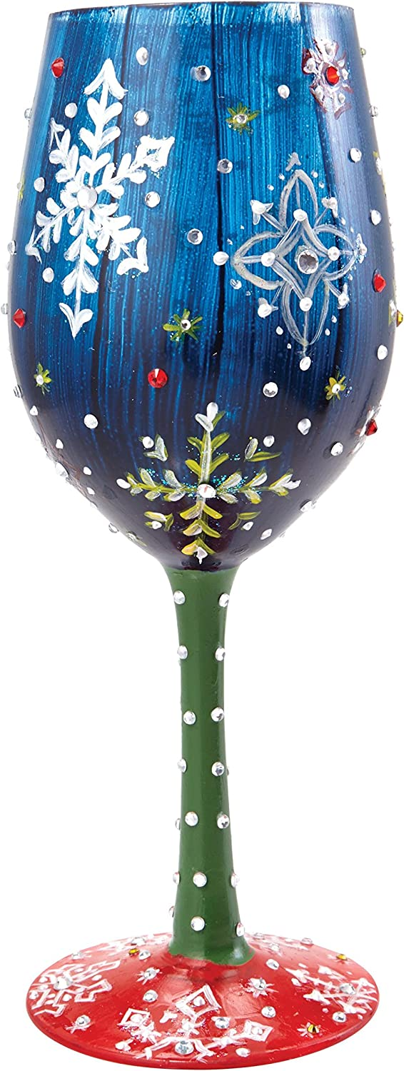 Designs by Lolita  Snowy Night  Hand-painted Artisan Wine Glass, 15 oz.