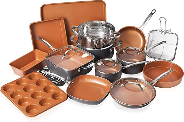 Gotham Steel 20 Piece All In One Kitchen Cookware Bakeware Set With Nonstick Durable Ceramic Copper Coating Includes Skillets Stock Pots Deep Square Fry Basket Cookie Sheet And Baking Pans
