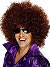 Fluffy Short Afro Wigs Synthetic Unisex Anime Cosplay Funny Fancy Wig for Crazy Party (Black/Brown)