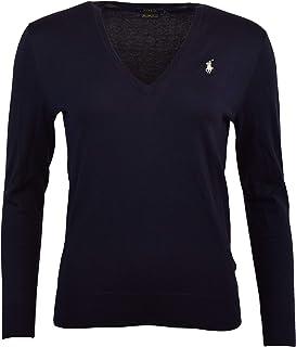 POLO RALPH LAUREN Womens Pima Cotton V-Neck Sweater (M, Blue)