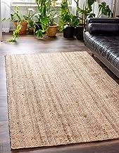 Ripaz's Natural Jute Rug Handmade Rectangle Carpet Bisat Aljut Reversible Rustic Look (150 x 210 cm (5 x 7 Feet))