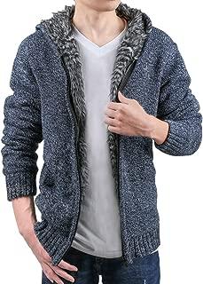 Men Zipper Closure Plush Lined Long Sleeves Hoodie Sweater Cardigan