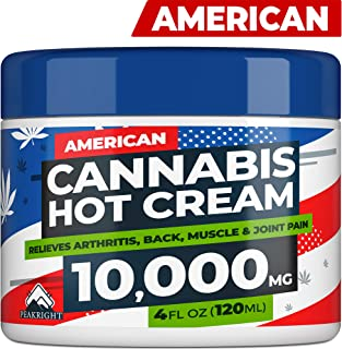 Hemp Cream for Pain Relief - MAX Strength Hemp Oil - Made in USA - Natural Treatment for Joint, Muscle, Sciatica & Back Pain Relief - Hot Cream with Arnica, Menthol & Eucalyptus
