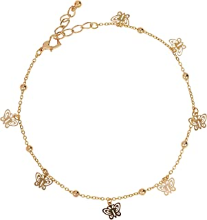 Alwan Gold Plated Anklet with Butterflies for Women - EE3807_G