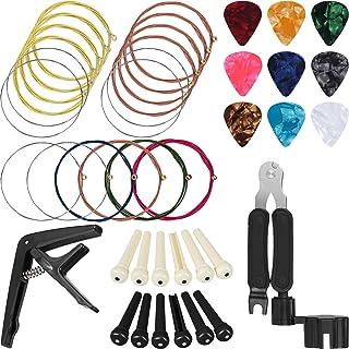 Jetec 41 Pieces Guitar Strings Changing Kit Guitar Tool Kit Guitar Picks Capo Pins 3 in