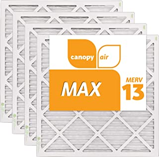 Canopy Air 20x20x1, MAX AC Furnace Air Filter, MERV 13, Made in the USA, 4-Pack (Actual Size 19 1/2