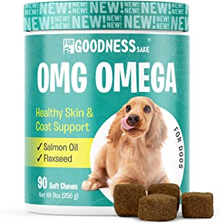 Fur Goodness Sake Omega 3 for Dogs - Omega 3 Fish Oil Skin and Coat Supplement for Dogs - Dog Omega 3 Chews with Flaxseed ...