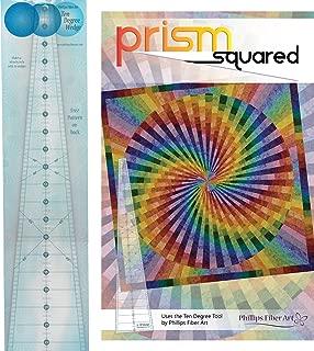 Bundle of Phillips Fiber Art 10 Degree Wedge Ruler, and Prism Squared Quilt Pattern, Finished Size 59
