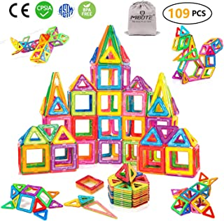 MIBOTE 109 PCS Magnetic Building Blocks Toys Educational Magnet Tiles Set for Boys/Girls, STEM Toys for Toddler/Kids - All of Them are Magnet, NO Cards