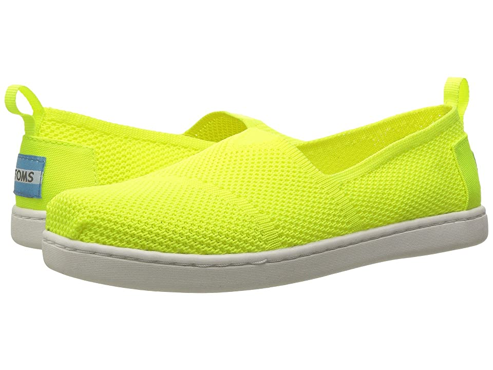 TOMS Kids Knit Alpargata Espadrille (Little Kid/Big Kid) (Neon Yellow Mesh) Girls Shoes