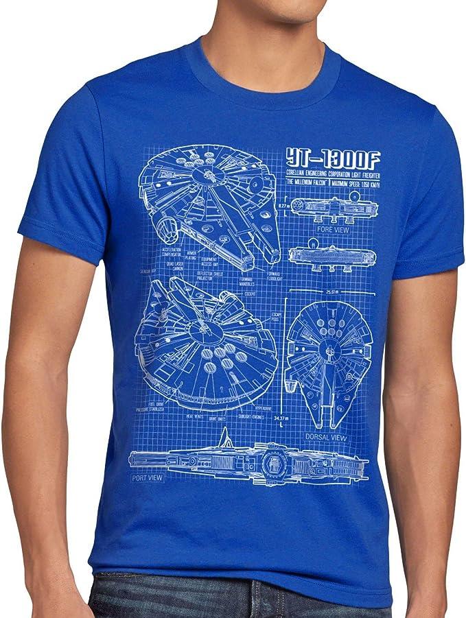 1056 opinioni per style3 Millennium Falcon T-Shirt da Uomo Cianografia