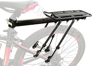 COMINGFIT® 調節可能な自転車荷物貨物ラック、超強力なアップグレード自転車荷物キャリア、75kgの重さをサポートするための4つの強力なサポートバー