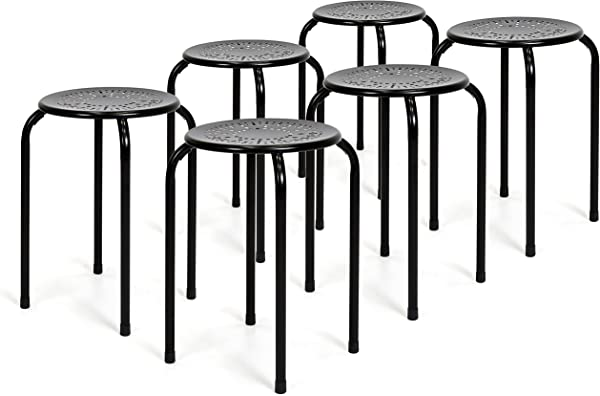 Best Choice Products Set Of 6 Backless Round Top Metal Stools Black
