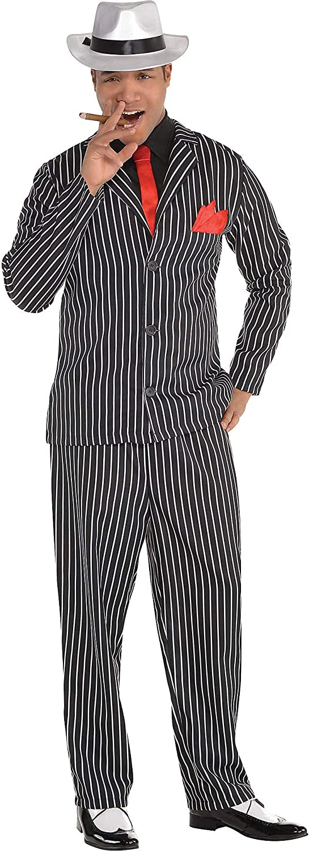 Vintage Men's Costumes – 1920s, 1930s, 1940s, 1950s, 1960s AMSCAN Mob Boss Halloween Costume for Men Medium Includes Jacket Pants Attached Shirt Tie Handkerchief  AT vintagedancer.com