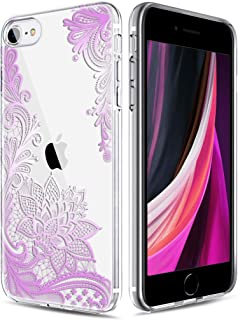 Casetego Compatible iPhone SE 2020 Case,iPhone 8/7 Case,Clear Soft Flexible TPU Case Rubber Silicone Skin with Flowers Floral Printed Back Cover for Apple iPhone SE/8/7,Purple Flower
