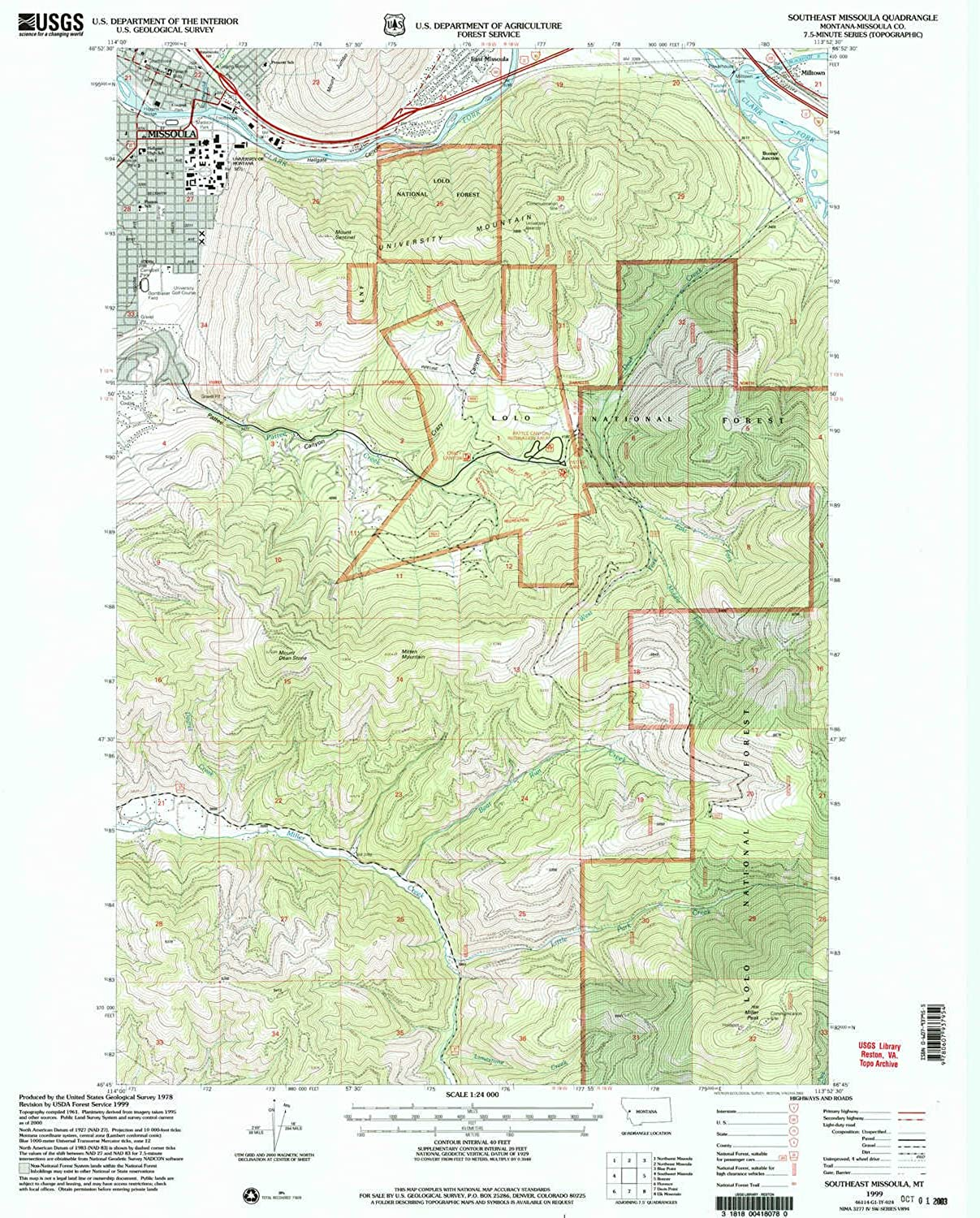 Southeast Missoula MT topo map, 1 24000 Scale, 7.5 X 7.5 Minute, Historical, 1999, Updated 2003, 26.9 x 22 in