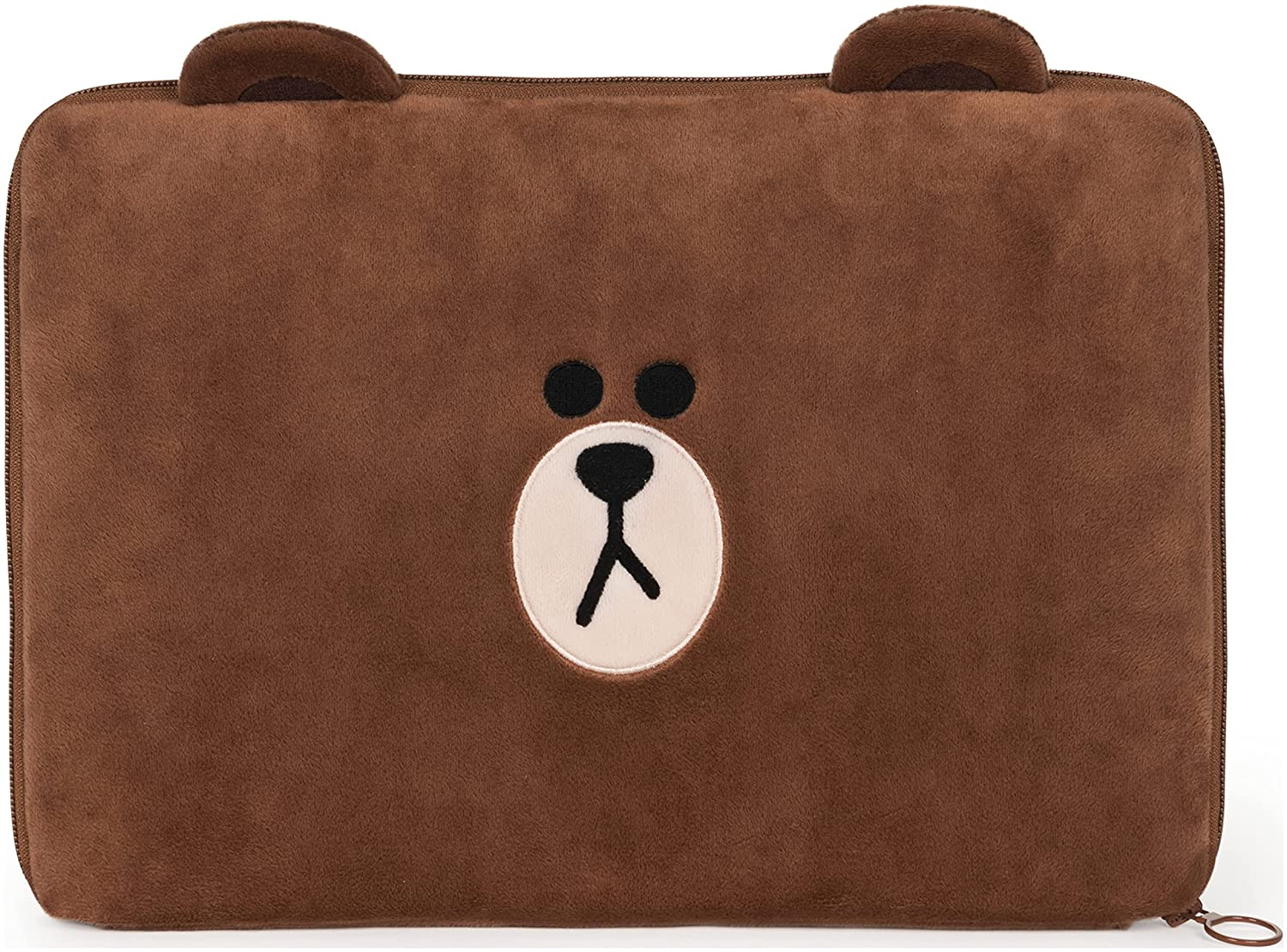 """GUND LINE Friends Brown Zippered Laptop Case Plush for Ages 3&Up, 10.5""""H x 15""""W"""